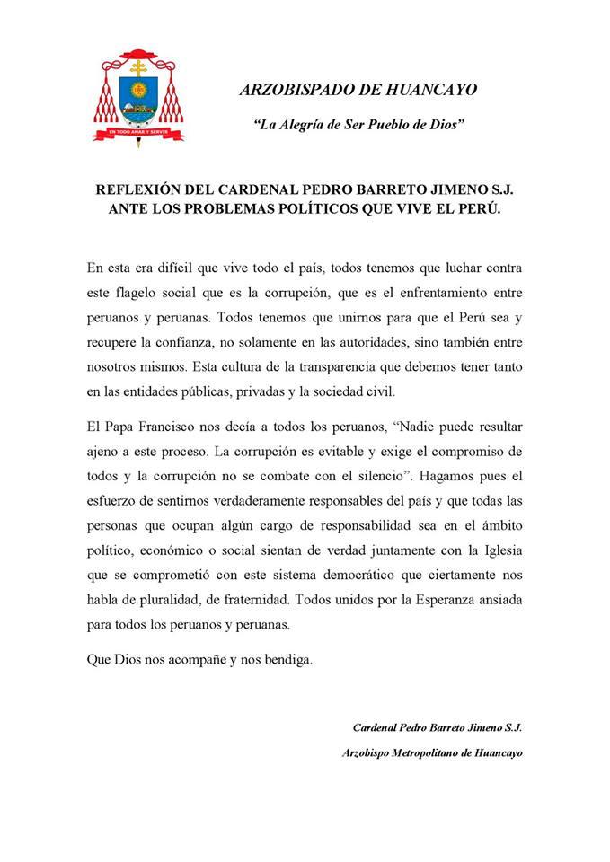 REFLEXIONES DEL Cardenal Pedro Barreto S.J., ANTE LOS PROBLEMAS POLÍTICOS QUE VIVE EL PERÚ.